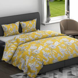 3 Piece Set - Floral Printed Microfibre Filled Quilt (Size 240x260 Cm) with Two Pillowcase (Size 50x