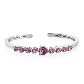 J Francis Light Rose Crystal from Swarovski Heart Cuff Bangle in Sterling Silver 10.5 Grams