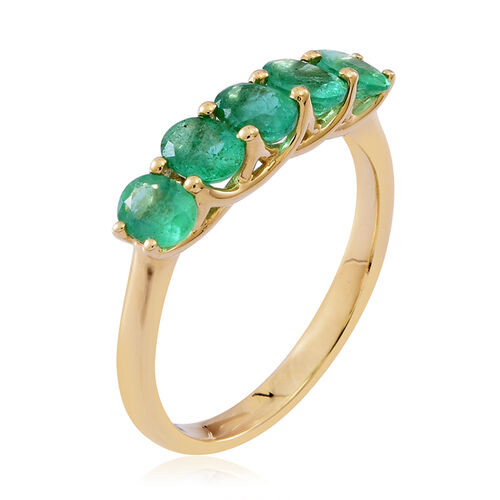 9K Yellow Gold AAA Kagem Zambian Emerald (Ovl) 5 Stone Ring 1.500 Ct.