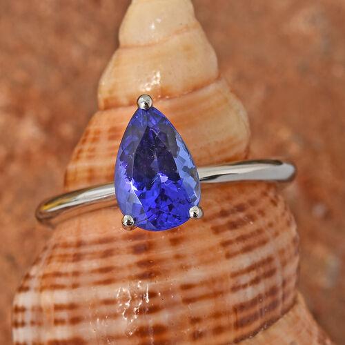 RHAPSODY 950 Platinum AAAA Tanzanite (Pear) Solitaire Ring 1.500 Ct.