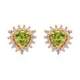 2 Carat Hebei Peridot and Zircon Halo Stud Earrings in Gold Plated Sterling Silver