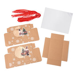 12 Piece Set Christmas Gift Box- Santa and Snowmen Pattern with Bowknot Ribbon (Size 18x12x5cm)