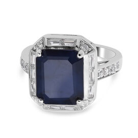 Close Out Deal- Masoala Blue Sapphire and Natural Cambodian Zircon Ring in Rhodium Overlay Sterling