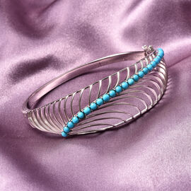 Isabella Liu Sea Rhyme Collection - Arizona Sleeping Beauty Turquoise Bangle (Size 7.5) in Rhodium Overlay Sterling Silver Silver Wt 27 grams
