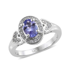 Tanzanite (Ovl 7x5 mm, 0.80 Ct), Natural Cambodian Zircon Ring in Platinum Overlay Sterling Silver 1