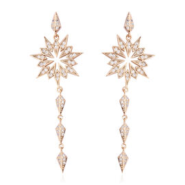 Simulated Diamond (Rnd) Dangle Earrings (with Push Back) in Yellow Gold Tone