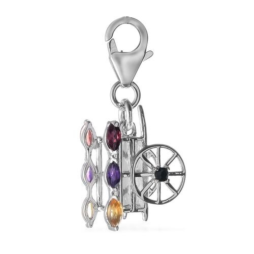 Mozambique Garnet (Mrq), Citrine, Amethyst and Boi Ploi Black Spinel Charm in Platinum Overlay Sterling Silver 0.610 Ct.