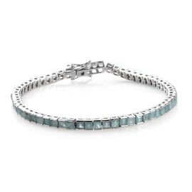 8.50 Ct Grandidierite Princess Cut Tennis Bracelet in Platinum Plated Silver 11.60 Grams 8 Inch
