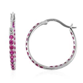 ELANZA Simulated Ruby (Rnd) Hoop Earrings (with Clasp Lock) in Rhodium Overlay Sterling Silver