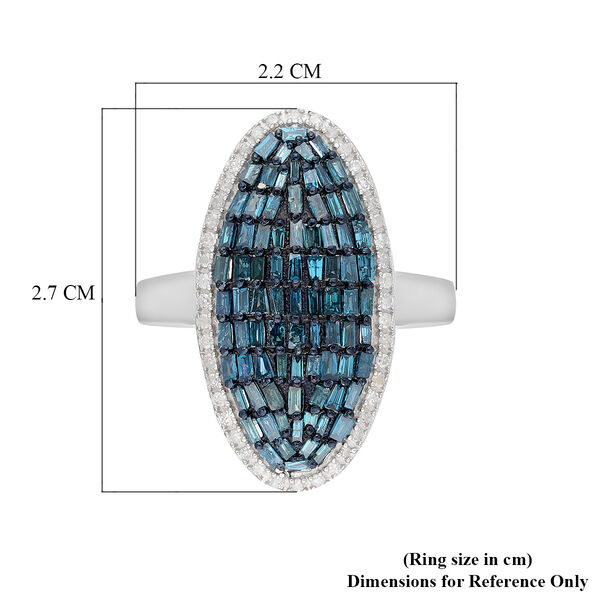 Blue and White Diamond Cluster Ring in Platinum Overlay Sterling Silver 1.00 Ct.