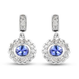 Tanzanite and Natural Cambodian Zircon Floral Dangling Earrings (with Push Back) in Platinum Overlay