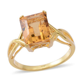 Citrine (Oct) Solitaire Ring in Gold Plated Sterling Silver 4.250 Ct.