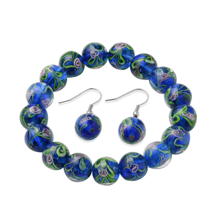 2 Piece Set - Blue Murano Glass Strachable Bracelet (Size 6,7.5 with 2 inch Extender) and Hook Earri