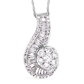 NY Close Out 14K White Gold Diamond (I1-I2/G-H) Swirl Pendant with Chain(Size 18) 1.00 Ct,