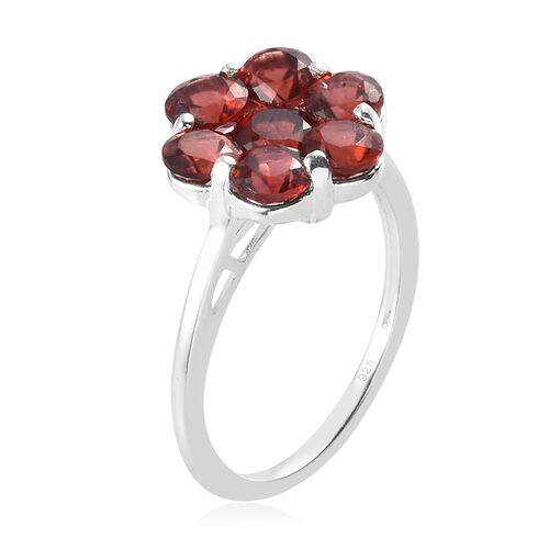 AA Mozambique Garnet Floral Ring in Sterling Silver 2.50 Ct.