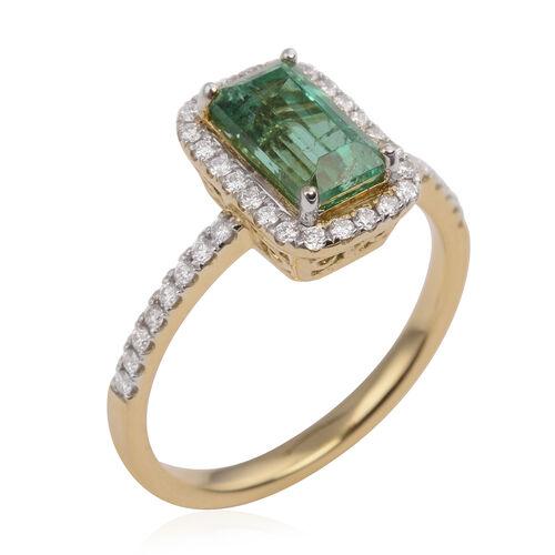 ILIANA 18K Yellow Gold AAAA Boyaca Colombian Emerald (Bgt) Diamond (SI/G-H) Ring 1.820 Ct.