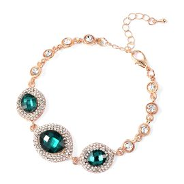 Simulated Emerald and White Crystal Classic Design Bracelet in Gold Plated Tone 7.25 Inch
