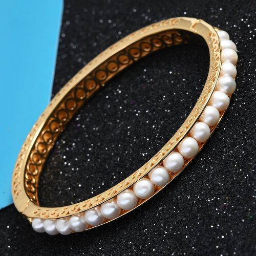 Freshwater Pearl Bangle (Size 7.5) in Yellow Gold Tone