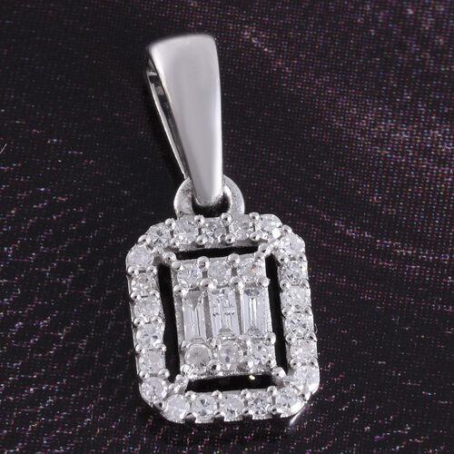 9K W Gold SGL Certified Diamond (I3/G-H) Pendant 0.15 Ct.