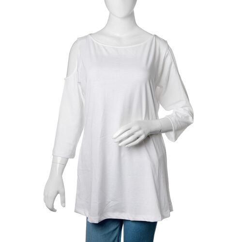 New for Season - 100% Cotton White Colour Cutout Shoulder Top (Size 75X50 Cm)