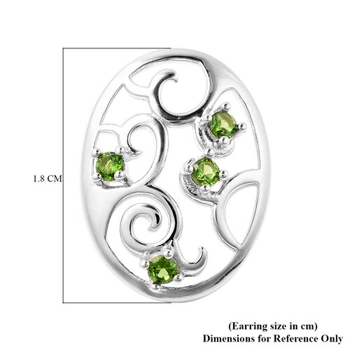 LucyQ Victorian Era Collection - Russian Diopside Filigree Stud Earrings (with Push Back) in Rhodium Overlay Sterling Silver