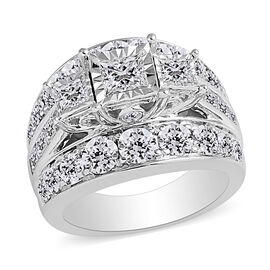 NY Close Out 14K White Gold Diamond (Princess) (I1 /G-H) Ring 4.000 Ct, Gold wt 11.70 Gms.