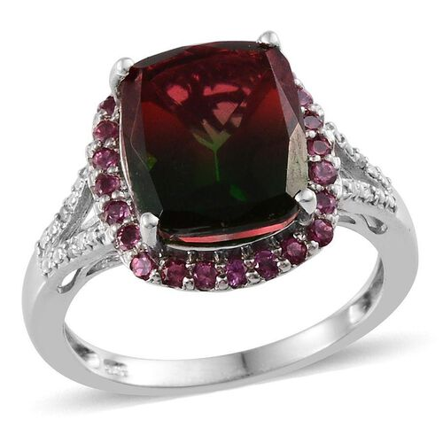 Tourmaline Colour Quartz (Cush 5.75 Ct), Rhodolite Garnet and Diamond Ring in Platinum Overlay Sterling Silver 6.270 Ct.