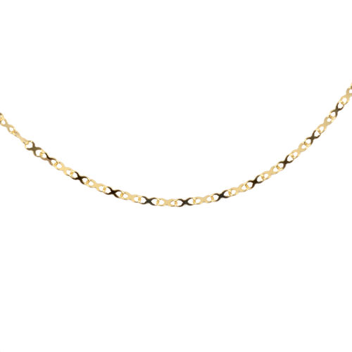 Italian Made- 9K Yellow Gold Infinity Link Necklace (Size 24)