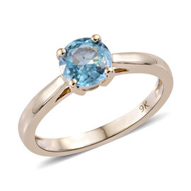 9K Rose Gold Blue Zircon (Rnd) Solitaire Ring 1.150 Ct.