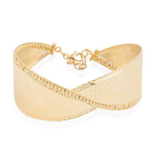 9K Yellow Gold Cuff Bangle Size 7 With 1 inch Extender 12.24 Grams