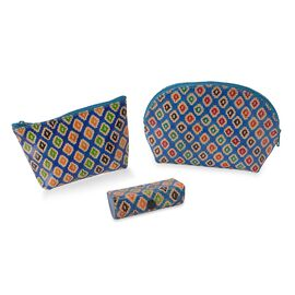 3 Piece Set - 100% Genuine Leather Handmade and Painted Pouch (12x3.5x9 Cm), Round Pouch (15x5x11 Cm
