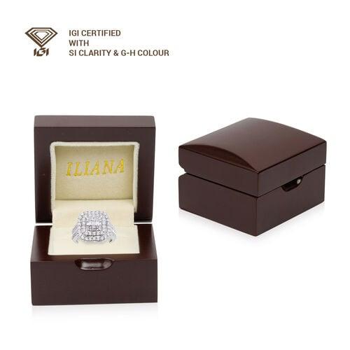 ILIANA 18K White Gold IGI Certified Diamond (SI/G-H) Cluster Ring 2.00 Ct., Gold wt 6.40 Gms