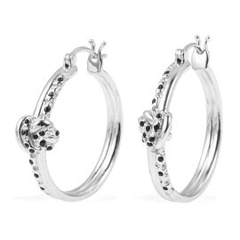 RACHEL GALLEY Boi Ploi Black Spinel (Rnd) Knot Hoop Earrings (with Clasp) in Rhodium Overlay Sterling Silver 0.200 Ct, Silver wt 10.48 Gms.