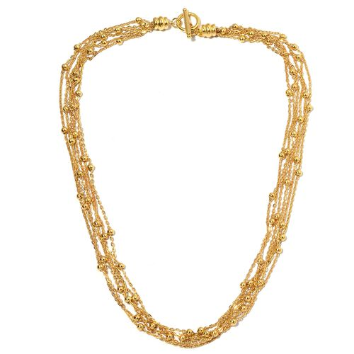Designer Inspired-Waterfall Multi Row Collar Necklace in Yellow Plated (Size 22)