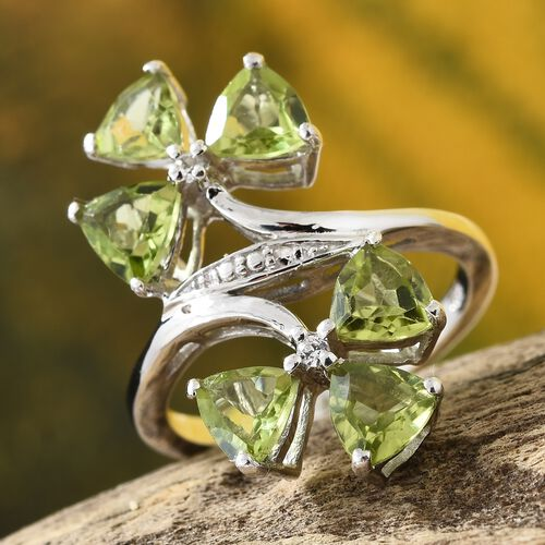 Hebei Peridot ( Tri 2.70 Ct), Natural Cambodian Zircon Twin Flower Ring in Platinum Overlay Sterling Silver Ring  2.750  Ct.