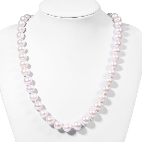 White Edison Pearl and Natural Cambodian Zircon Necklace (Size 20 with Magnetic Lock) in Rhodium Overlay Sterling Silver