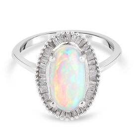 Ethiopian Welo Opal and Diamond Halo Ring in Platinum Overlay Sterling Silver 1.90 Ct.