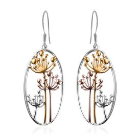 Platinum, Yellow and Rose Gold Overlay Sterling Silver Dandelion Hook Earrings, Silver wt 5.70 Gms.