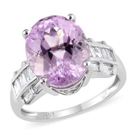 6.65 Ct AA Kunzite and Diamond Solitaire Design Ring in 14K White Gold