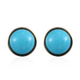 9K Yellow Gold Arizona Sleeping Beauty Turquoise (Rnd) Stud Earrings (with Push Back) 1.50 Ct.