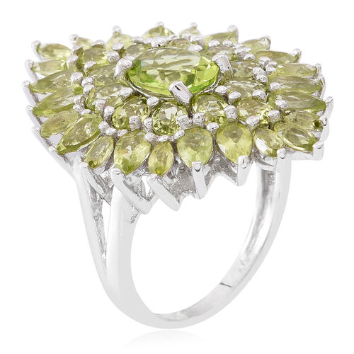 Hebei Peridot (Ovl) Cluster Ring in Rhodium Plated Sterling Silver 8.000 Ct. Silver wt 7.60 Gms.
