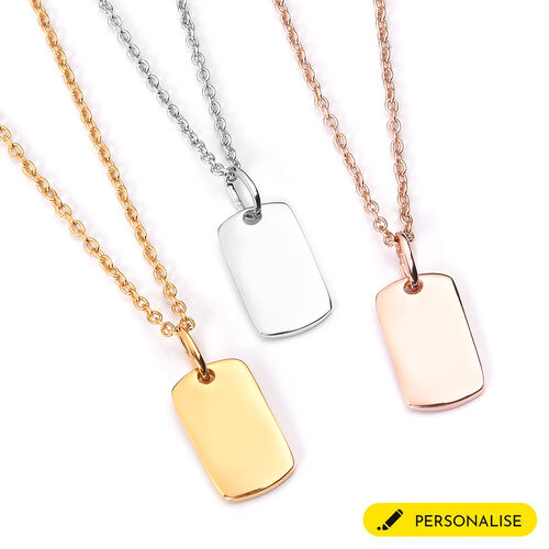 Personalise Engraved Initial Mini Dog Tag with Chain in Silver