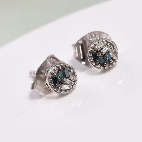 Teal Blue and White Diamond Stud Earrings (with Push Back) in Platinum Overlay Sterling Silver 0.040 Ct.