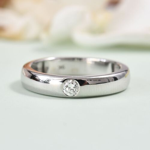 9K White Gold SGL Certified Diamond (I1/G-H) Flush Set Solitaire Band Ring