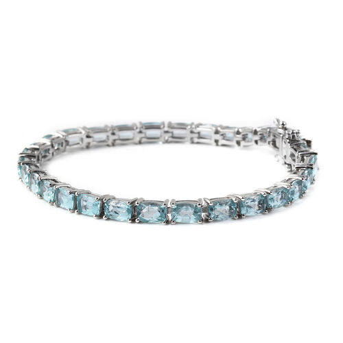 Paraibe Apatite Bracelet (Size 7.5) in Rhodium Overlay Sterling Silver 17.00 Ct, Silver wt 10.80 Gms