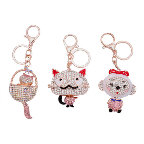 3 Piece Set - Multi Colour Austrian Crystal, Pink and White Austrian Crystal Cat, Fox and Monkey Ena