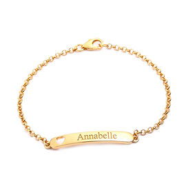 Personalised Engrave Bar Bracelet with Heart in Silver
