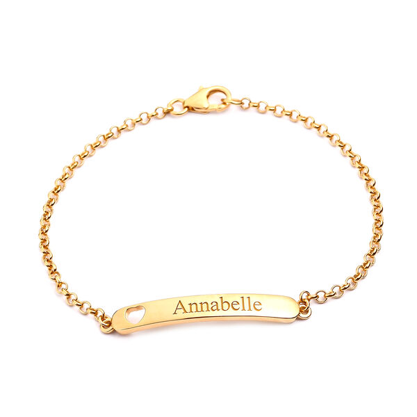Personalise Engrave Bar Bracelet with Heart in Silver