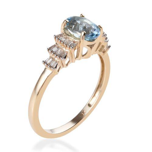 9K Yellow Gold Santa Maria Aquamarine (Ovl 7x5 mm), Diamond Ballerina Ring