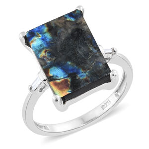 Natural Spectrolite (Bgt), Diamond Ring in Platinum Overlay Sterling Silver 4.250 Ct.